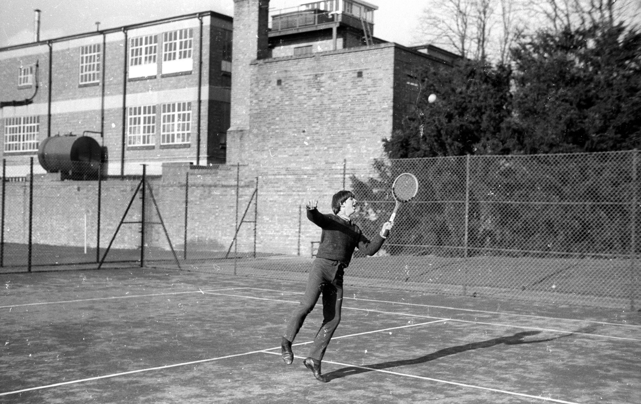 Chris playing tennis in oxford 1967