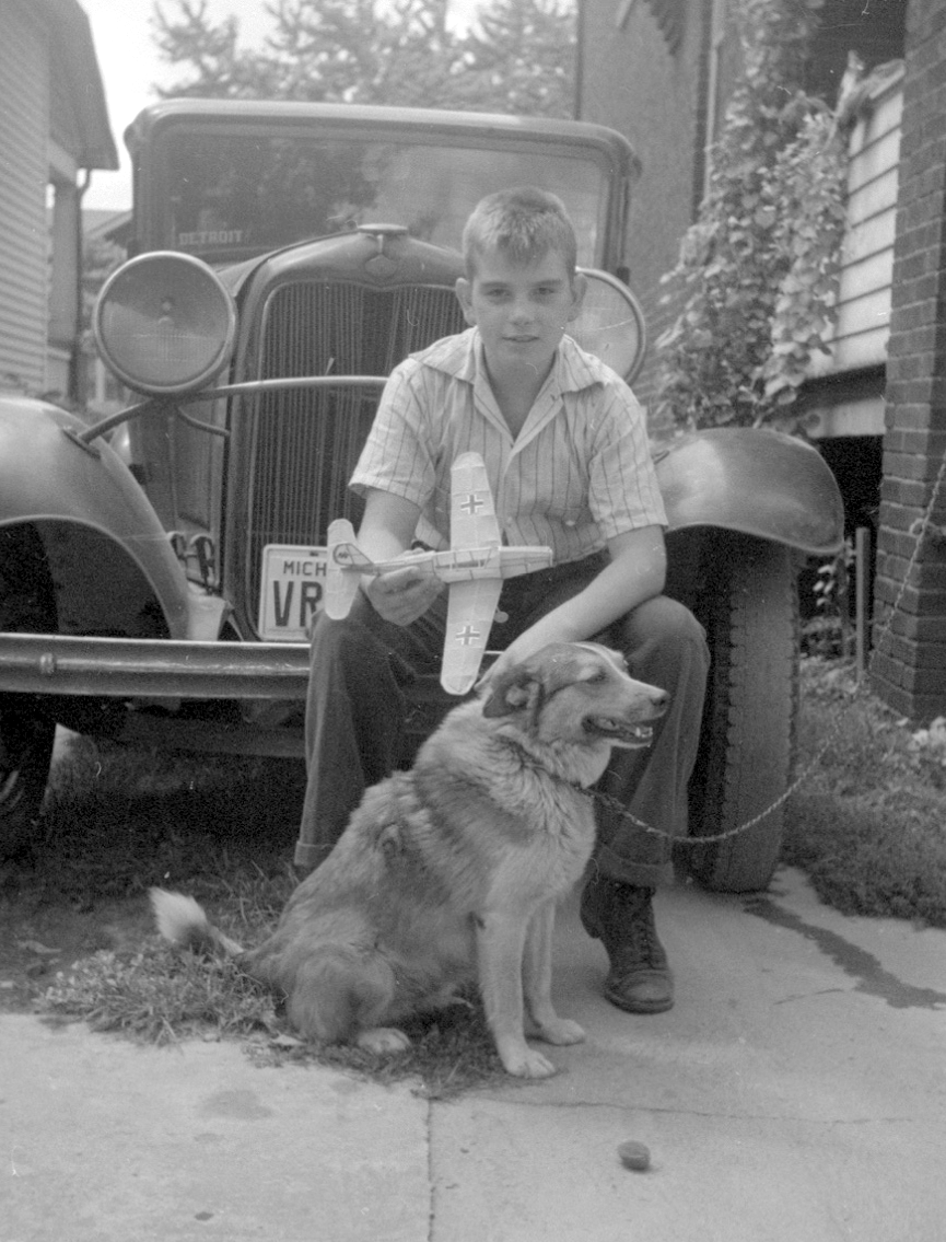 dad with dog and model a