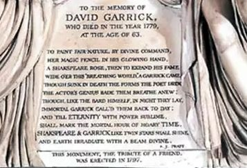 david garrick plaque
