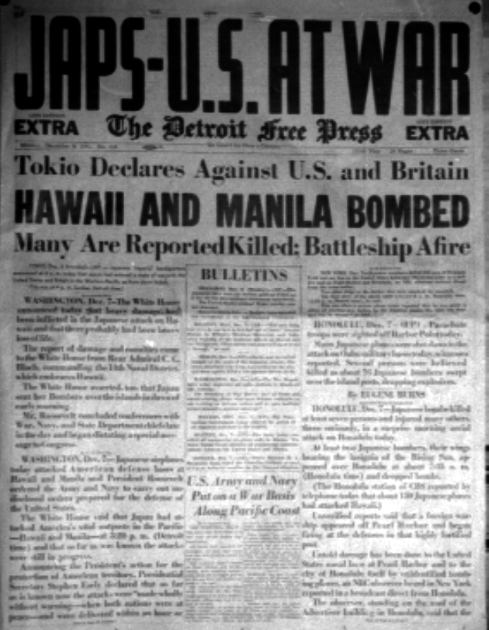dec 8 1941 newspaper 1