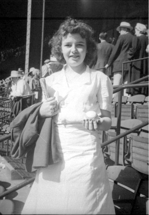 jean with baseball at 1941 all star game 1